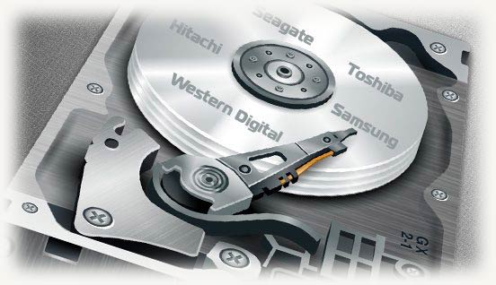 Жесткий диск с названиями разных производителей