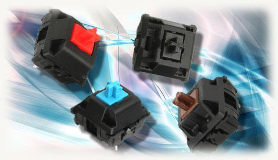 Переключатели MX Cheryy синего красного черного и коричневого цвета