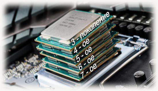 разные поколения ЦП интел