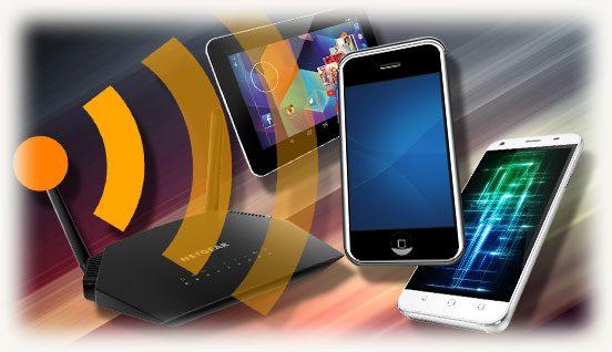 роутер wi-fi c планшетом и смартфонами