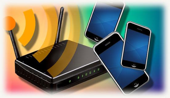 роутер wi fi с тремя смартфонами