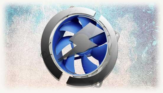 Синий кулер с логотипом энергопотребления