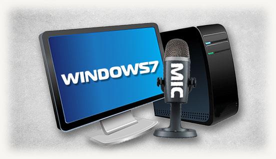 Стационарный ПК микрофон и на экране написано windows 7
