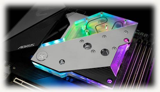 EK-Quantum Momentum Aorus Z490 Xtreme с включенной подсветкой D‑RGB