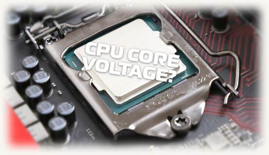 Надпись CPU Core Voltage на фоне материнской платы