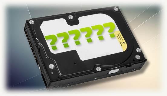Вопросительные знаки на черном HDD